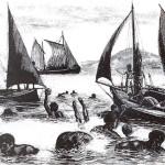 Australian South Sea Islanders Pearl diving in the Torres Strait.