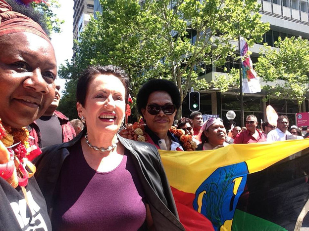 Lord Mayor of Sydney, Clover Moore and Emelda Davis (ASSIPJ) leading Sydney's Climate Change march.