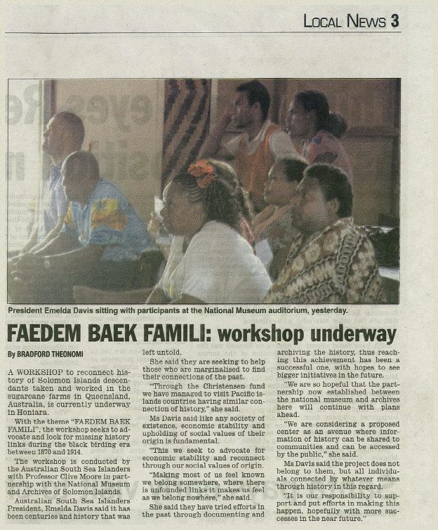Solomon Star News article – Workshop underway